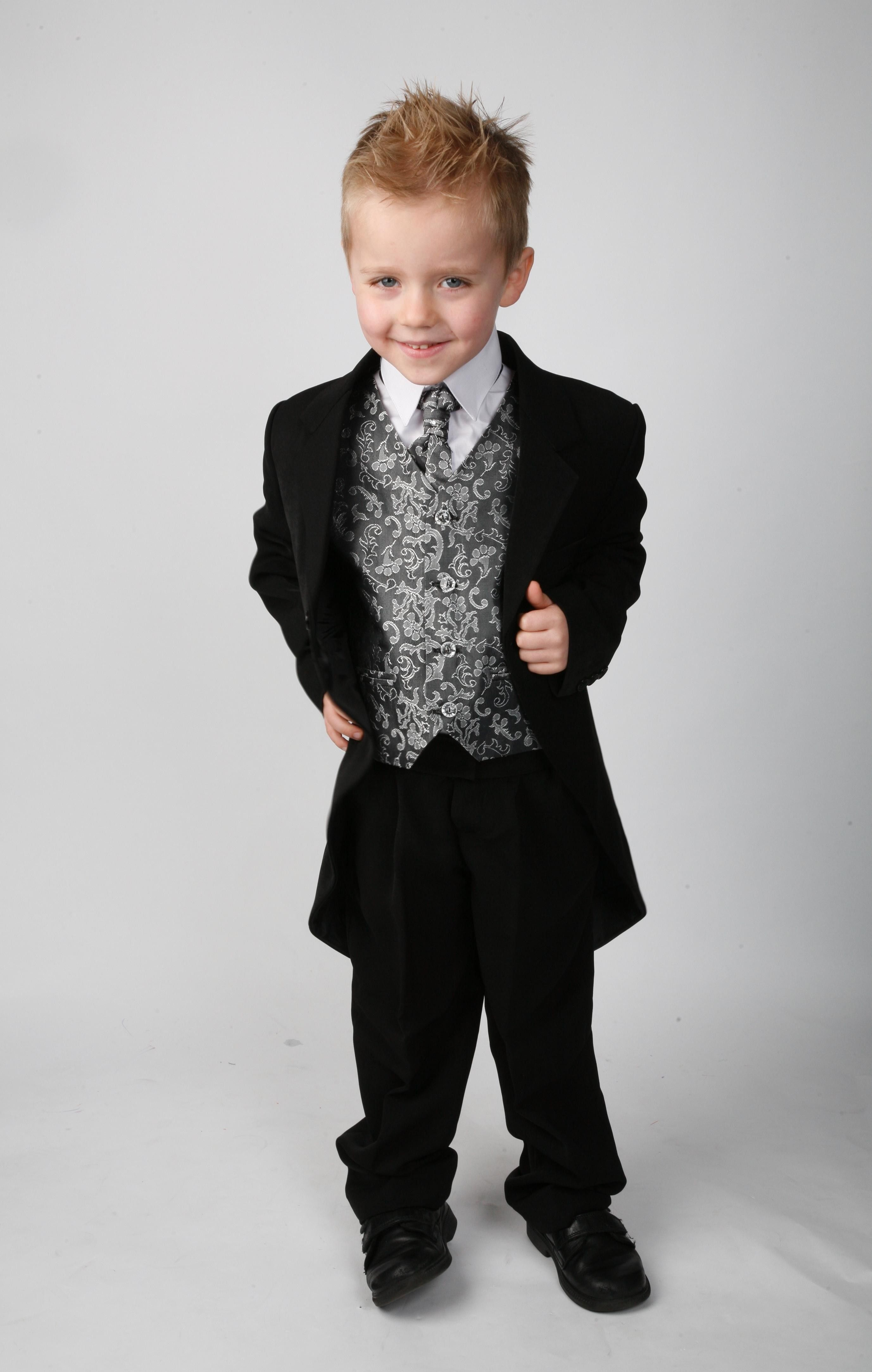 Silver Waistcoat Page Boy Suits Wedding Suits Boys Grey Tail Suit Boys Suits