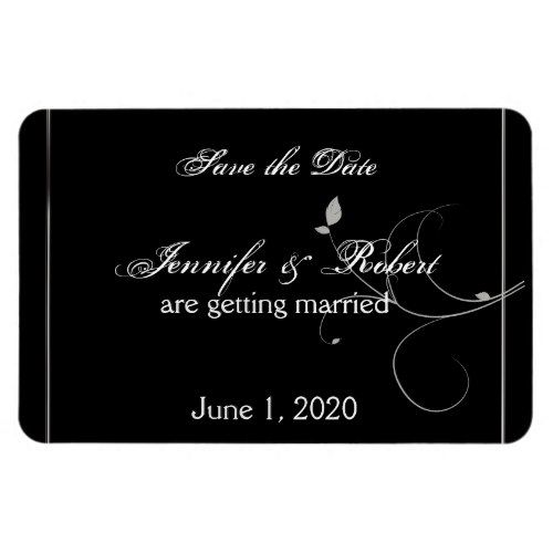 Black And Silver Leaves Fall Wedding Save The Date Magnet