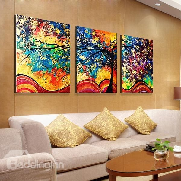 Fantastic Modern Oil Painting Style Abstract Tree 3 Panel Canvas Wall Art Prints Abstract Tree Painting 3 Piece Canvas Art Wall Art Painting