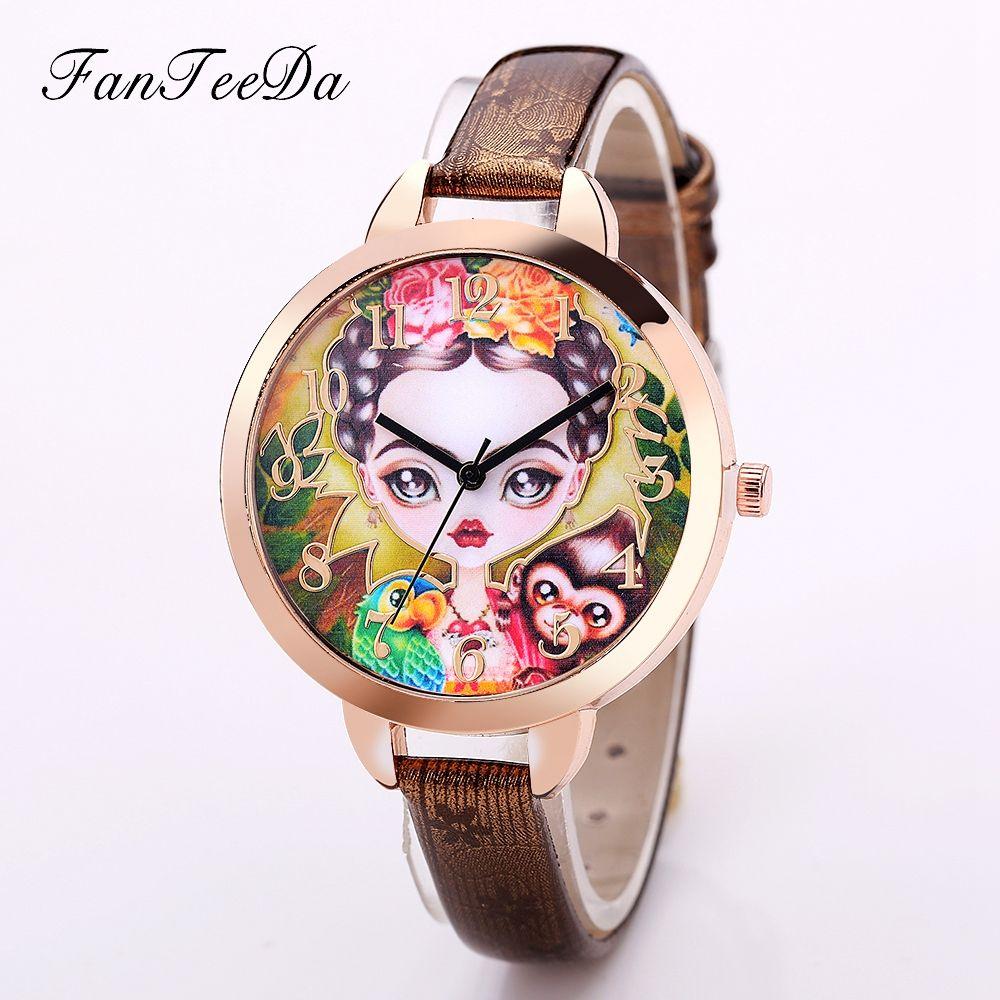 FanTeeDa Brand Fashion Women Watches Luxury Wrist Watch Ladies Vintage  Beauty Pattern Leather Quartz Female Watch 4037213f8738