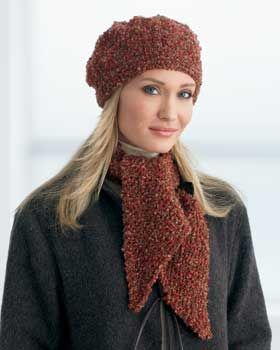 Warm and stylish scarf and beret knit in Bernat Soft ...