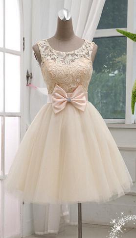 Champagne Strapless Short Prom Dressescheap Bridesmaid