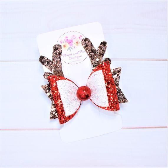 Christmas hair bow Rudolph hair bow Baby girl Christmas headband Glitter hair bow Toddler Christmas hair clips Christmas dress #hairbows