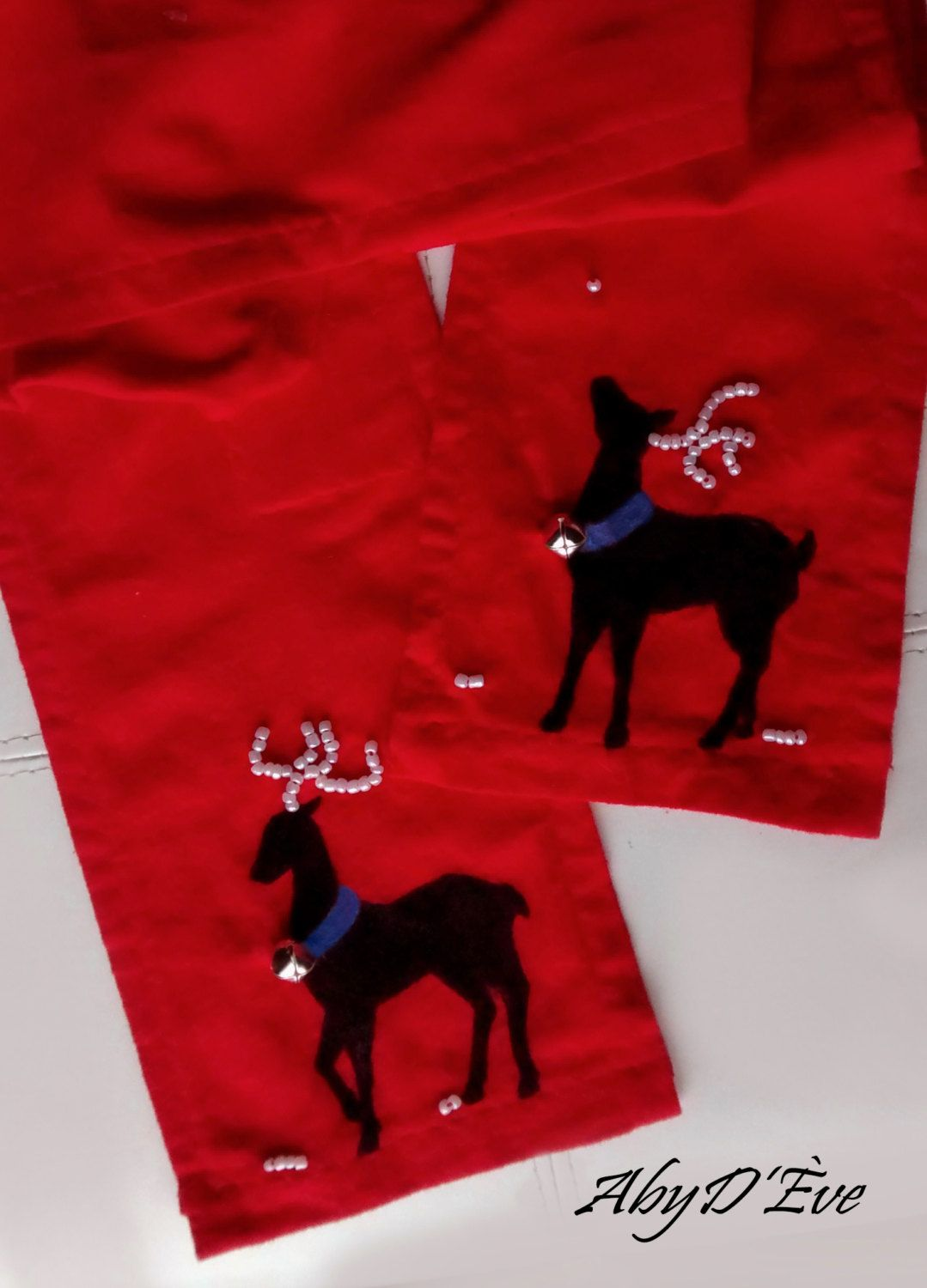 Reindeer - Unique scarf decorated by hand. We use specialized pens, buttons, pearls and hand-embroidery. - pinned by pin4etsy.com
