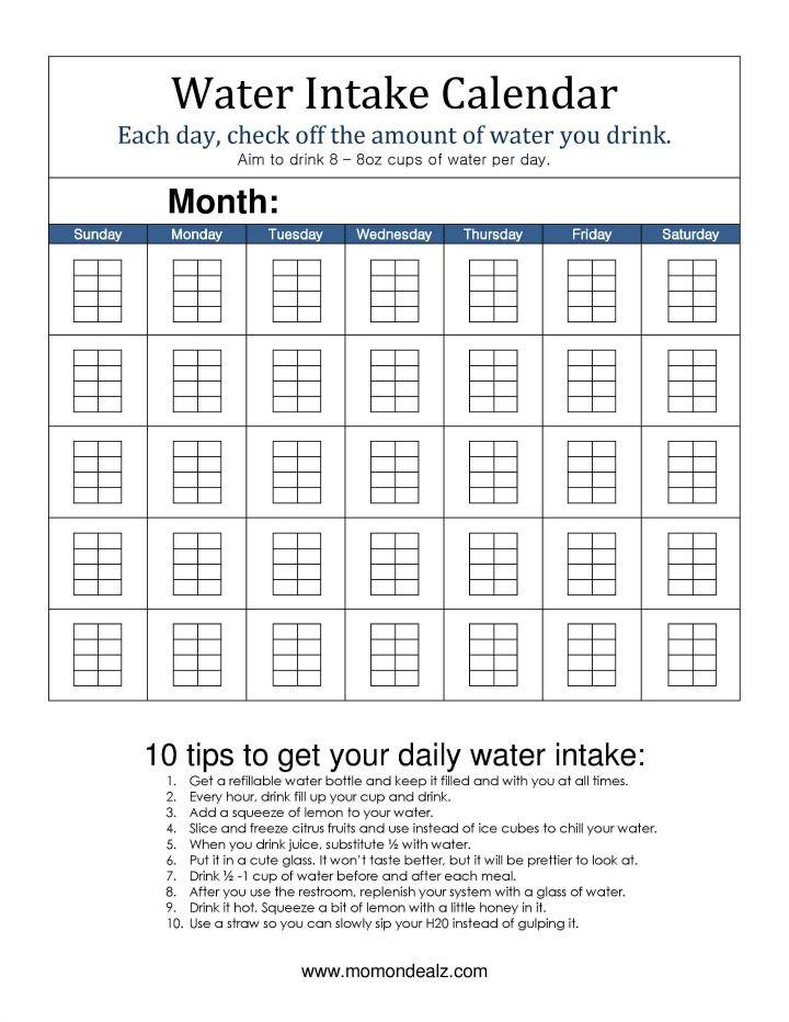 water intake calendar Fitness Pinterest Workout