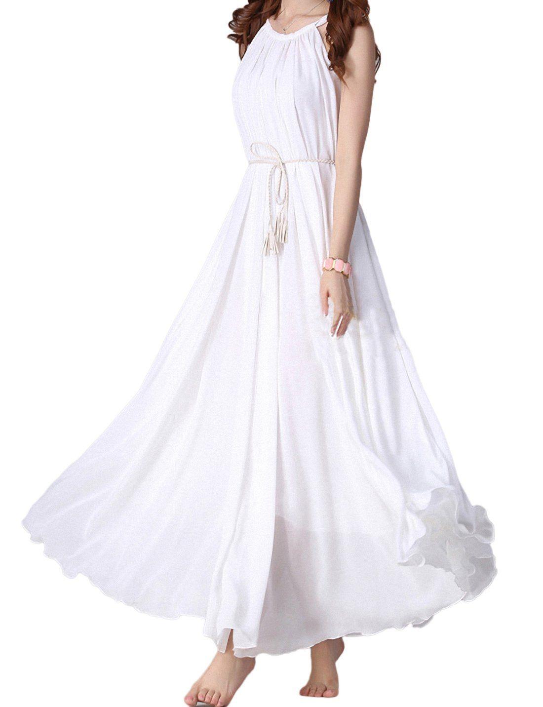 Yacun Women S Bohemian Casual Chiffon Swing Maxi Slip Flowy Dress White Xl At Amazon Women S Clothing S Chiffon Dress Long Bohemian Chiffon Maxi Dresses Casual [ 1432 x 1100 Pixel ]