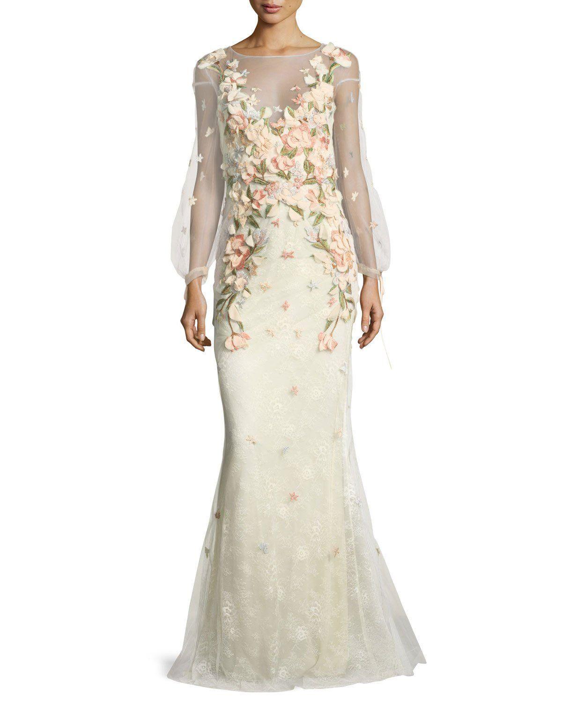 5305cba873 Marchesa Notte Bishop-Sleeve Lace Evening Gown w/ Floral Appliques | Neiman  Marcus