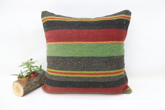 18x18 Turkey Kilim Pillow, Bohemian Pillow, Best Pillow Cover,Throw Pillows, Designer Pillow, Green