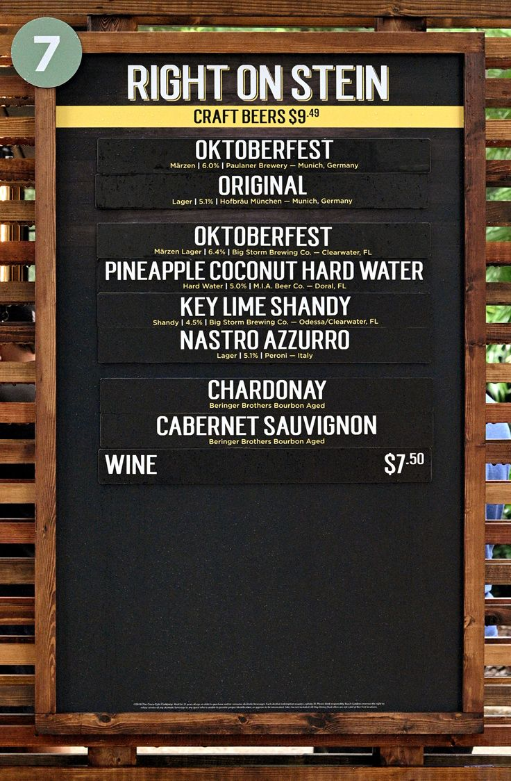 Right on Stein menu and price board for Bier Fest 2019 at
