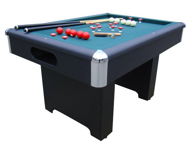Slate Bumper Pool Table   Black  Cast Metal Corner Posts U0026 Caps 2 Thick  Hard Wood Rails With Black Mica Laminate Carpeted Ball Return System Heavy  Solid ...
