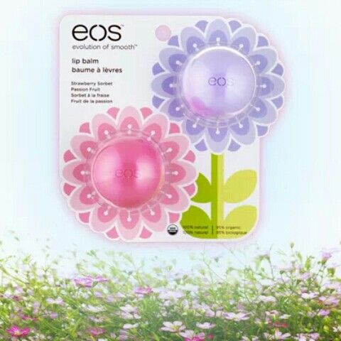 Jump into spring with new Eos lip balms! Strawberry sorbet and passion fruit!