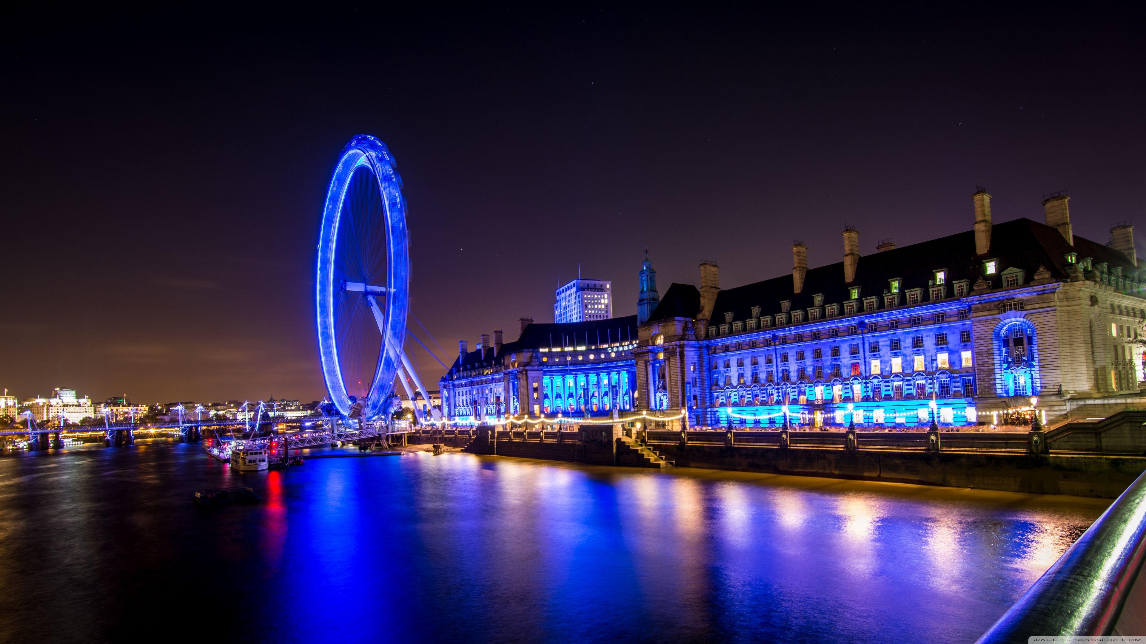 Ferris Wheel In London Hd Desktop Wallpaper Widescreen High London Wallpaper London Night Visiting England