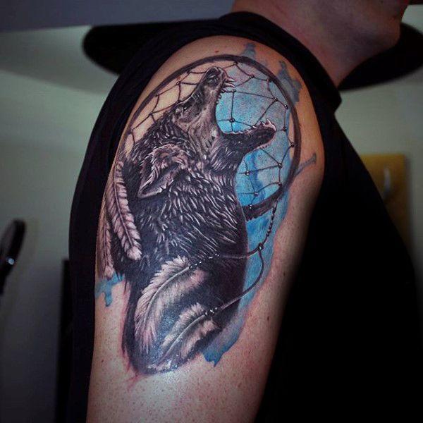 100 Dreamcatcher Tattoos For Men Divine Design Ideas Dream Catcher Tattoo Tattoos For Guys Dreamcatcher Sleeve Tattoo