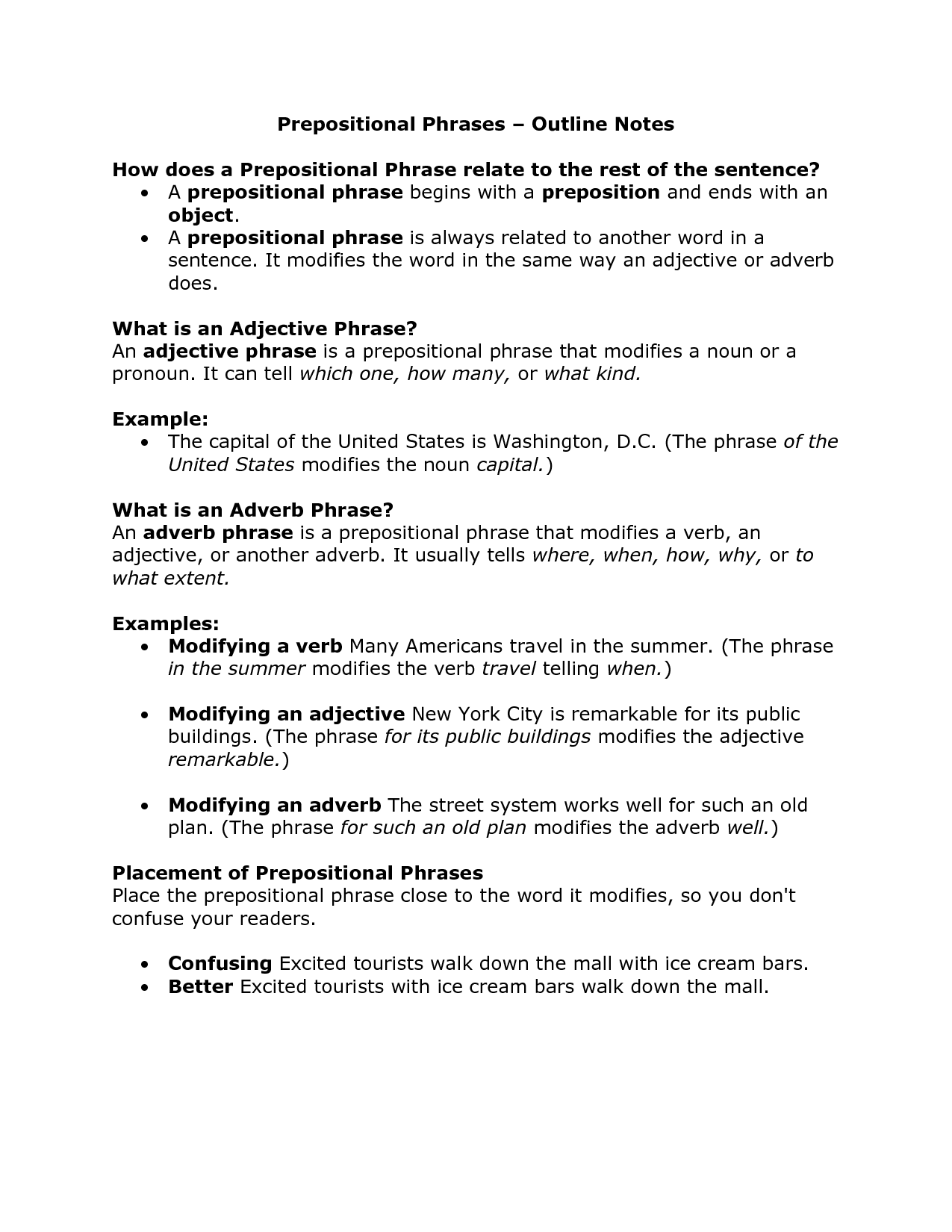 Prepositional Phrases Outline Notes | ELAR | Outline notes