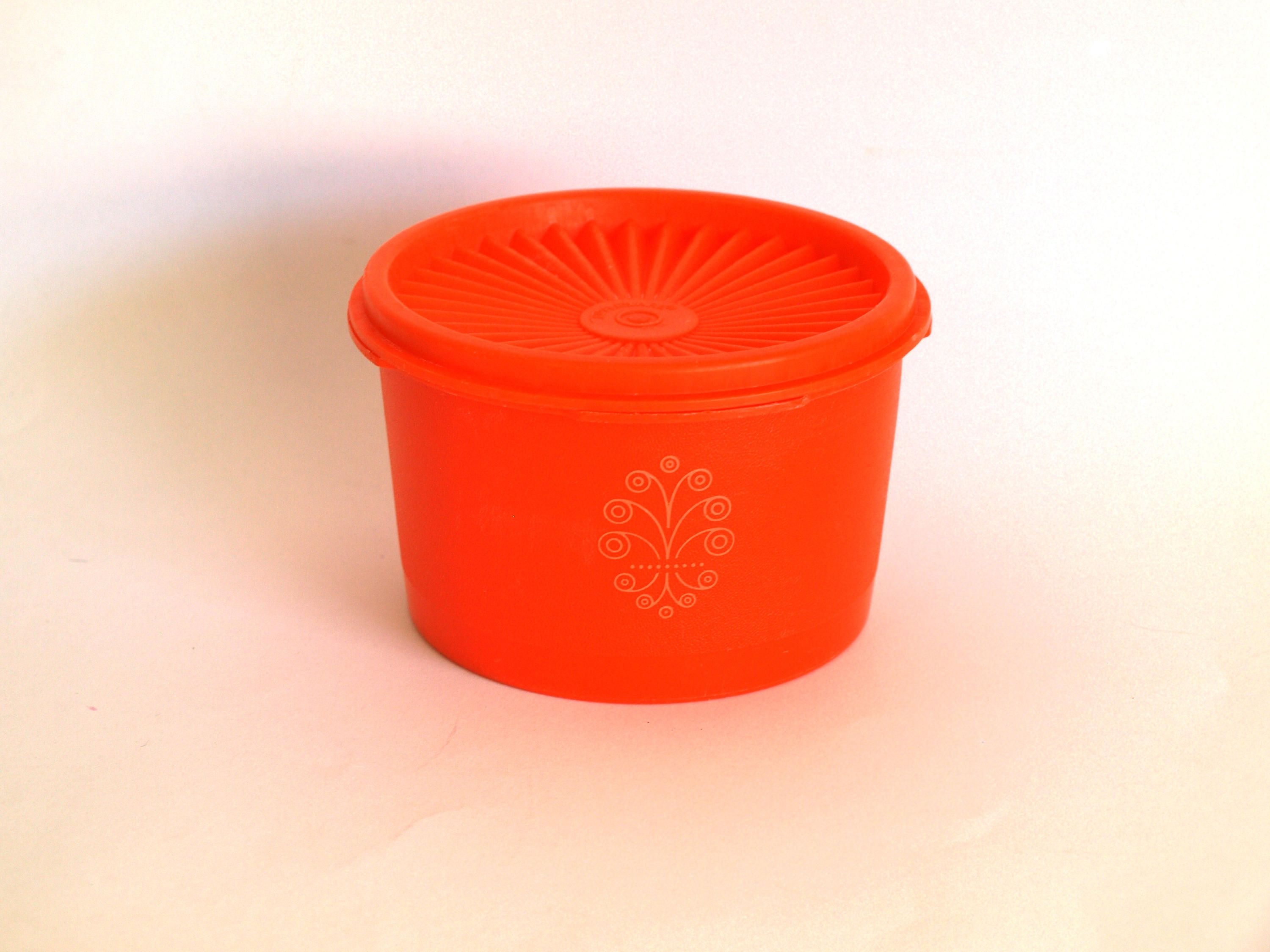 Orange Tupperware Container with White Stylised Flower Swirl - Tupperware Canister - Made in Australia by. Kitchen Storage ... & Orange Tupperware Container with White Stylised Flower Swirl ...