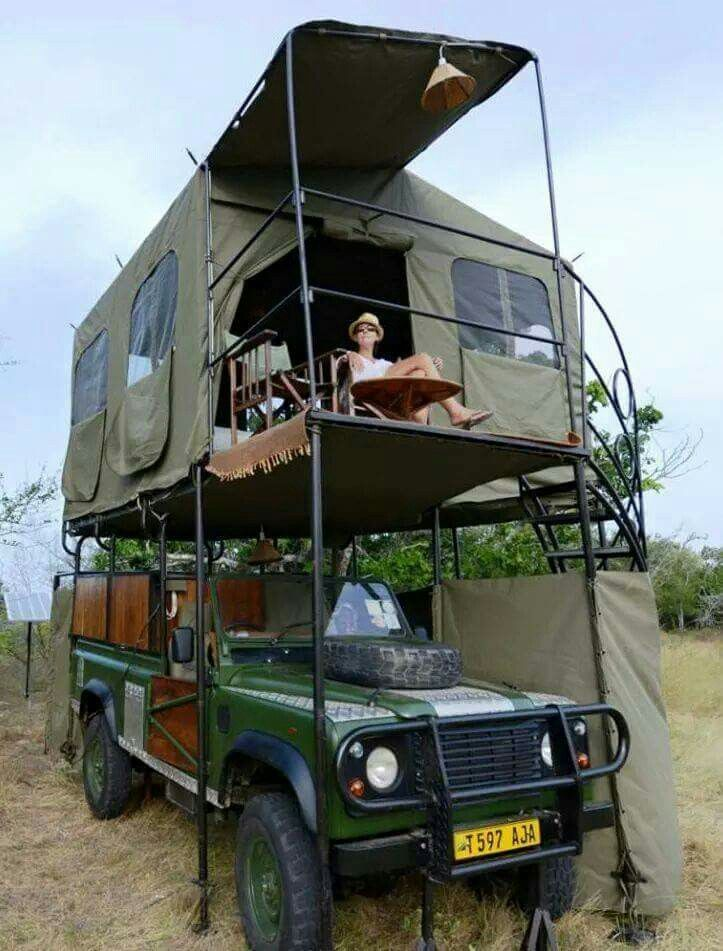 Roof tent with a spiral stairs and balcony jeep version