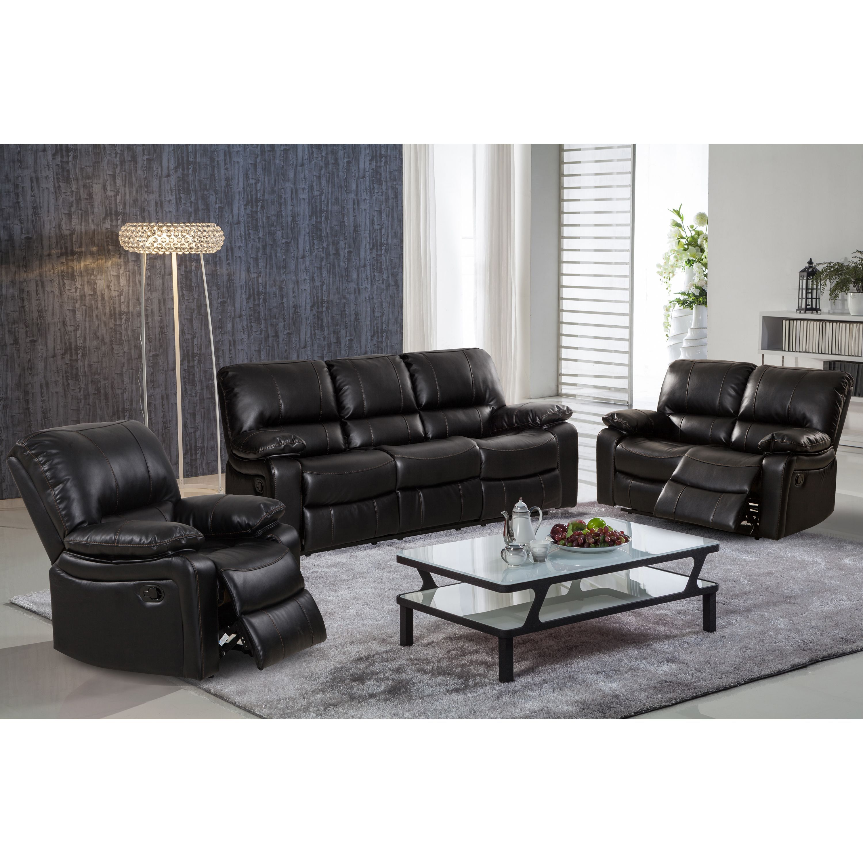 Nora Brown Leather Reclining 3 Pc Living Room Sofa Set Couch And Bed Samantha Gel Piece With