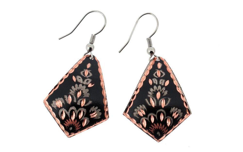 Copper Earrings Black Wire Dangle Hooks Jewelry by Bora Mediterranean Style #Bora #DropDangle