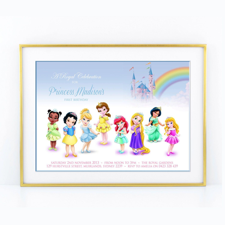Disney Princess Toddler Kids Birthday Invitation, Cinderella, Ariel ...