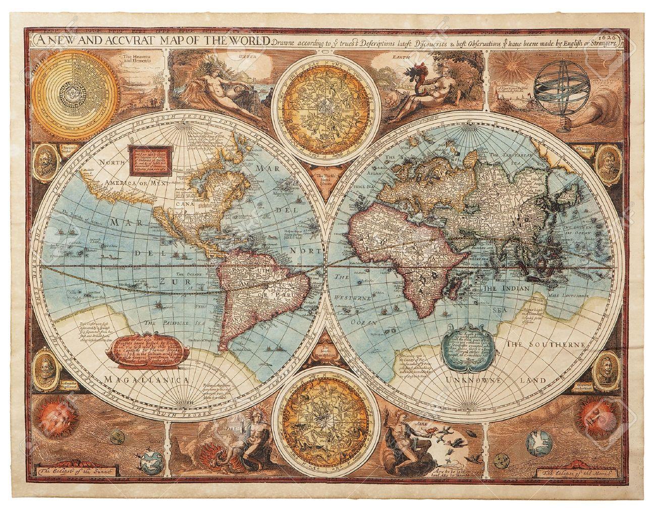 17237806 Ancienne carte 1626 Une nouvelle carte et accvrat du