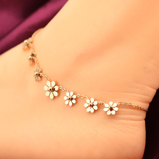 2 x Floral Beautiful Baby Silver Jingly Bangle Bracelet Anklet Adjustable