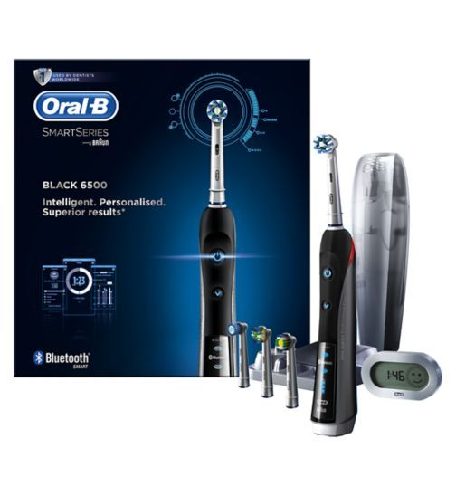 Oral B Pro 6500 Black Smartseries Electric Toothbrush With Bluetooth Connectivity Boots Bluetooth White Teeth