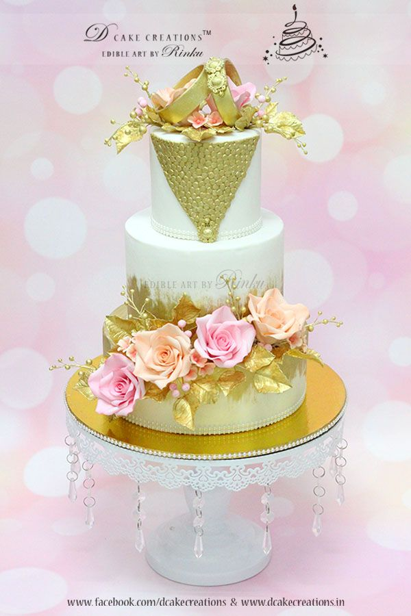 Gold Ring Topper Cake with Roses | Engagement Cakes | Pinterest ...