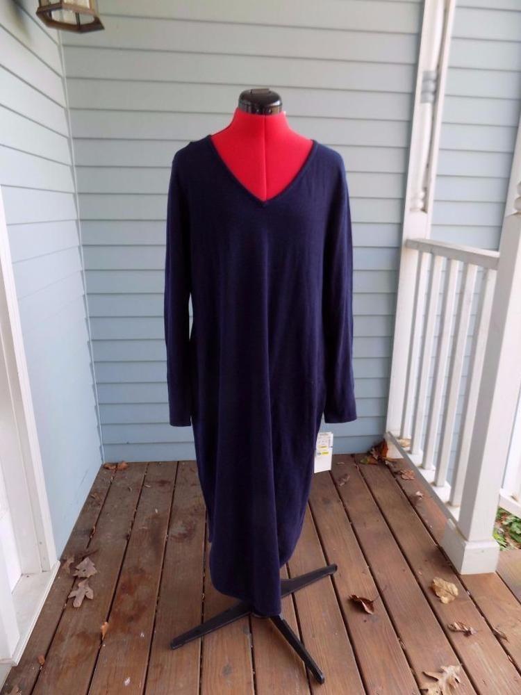 d2620b9381 NEW Navy Sweater Dress Lennie for Nina Leonard Size XL V-Neck Shirt Tail  Hem
