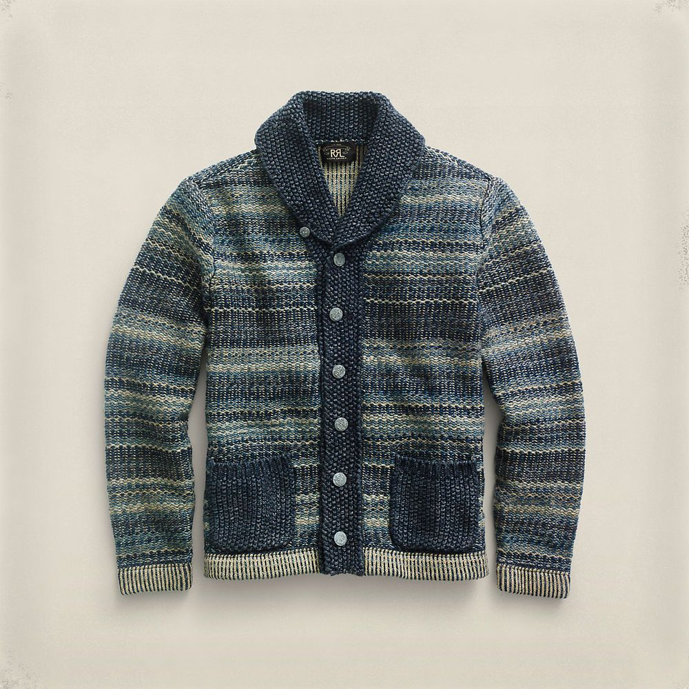 RRL Ralph Lauren Indigo Cotton Blend Shawl Collar Cardigan Heavy ...