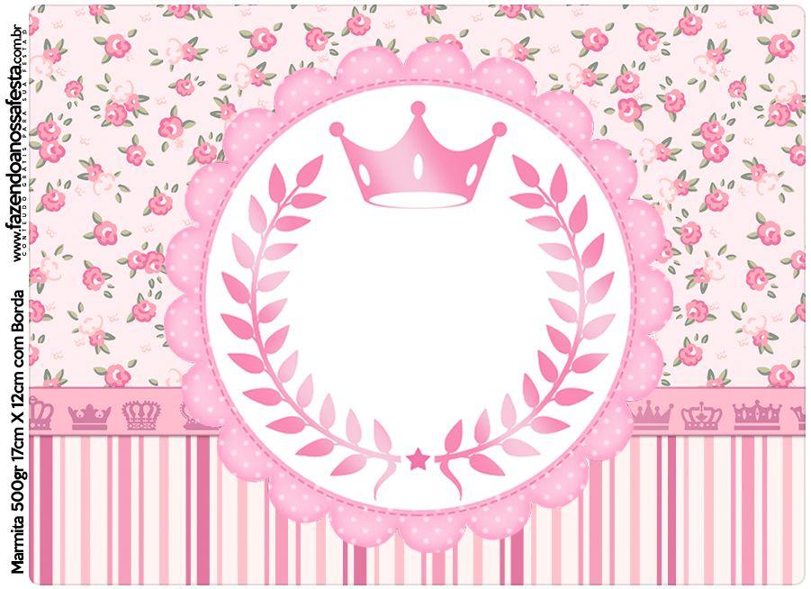Marmita 500gr Coroa de Princesa Rosa Floral