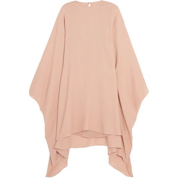 Valentino Stretch-silk georgette mini dress (€2.030) ❤ liked on Polyvore featuring dresses, valentino, neutral, draped mini dress, asymmetrical hem dress, short red dress, red dress and mini dress
