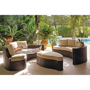 Garden Furniture Sofa Sets rattan effect 6 seat patio sofa set with cushions - brown. 50