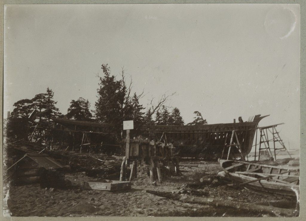 A ship under construction. Ships were built in Käsmu, Estonia, especially from the second half of the 19th century. ca 1900