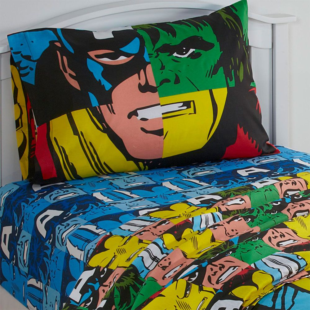 Avengers bedding set twin - 3pc Marvel Avengers Twin Bed Sheet Set Comic Book Hulk Thor Superhero Bedding