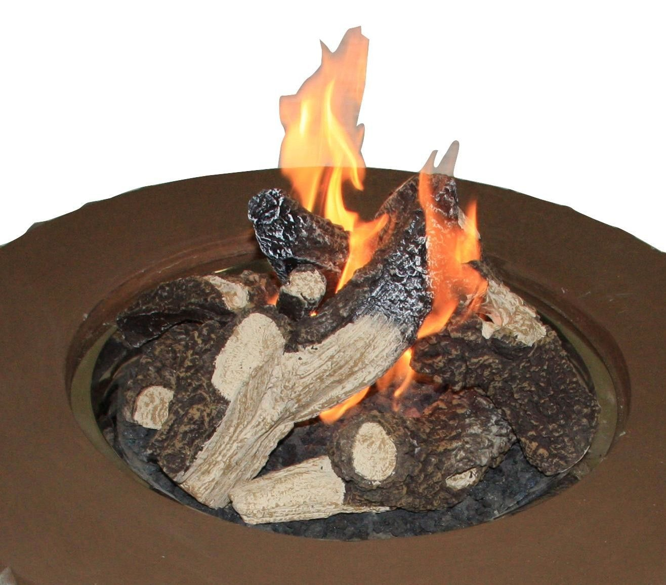 log set and grate for outdoor fireplace fire tables and fire pits