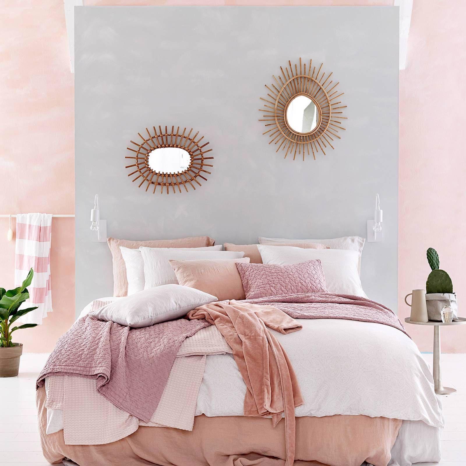 Vandyck linnen dekbedovertrek dekbedovertrek roze slaapkamer