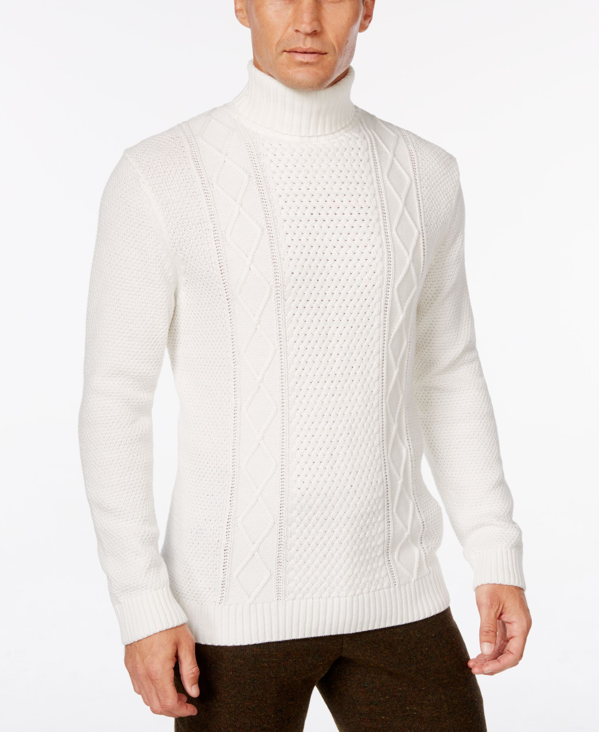 Tasso Elba Men's Turtleneck Mixed-Stitch Sweater, Only at Macy's