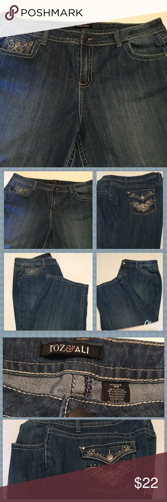 Women's Rozi & Ali Jeans With Rhinestones Size 20W Women's Rozi & Ali Jeans With Rhinestones Size 20W. Never worn too big for me. Rozi & Ali Jeans Straight Leg