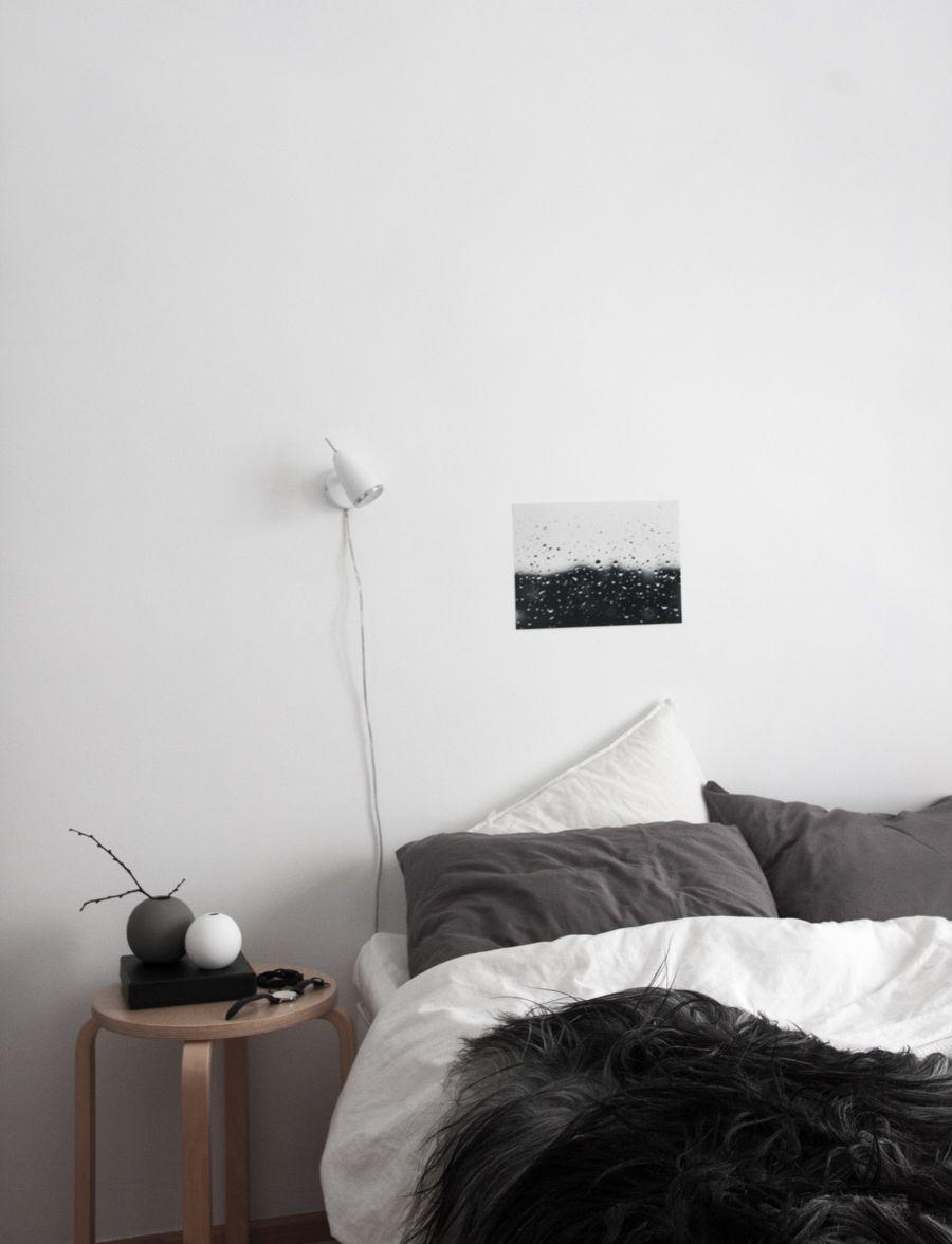 Monochrome Scandinavian Bedroom Black White Grey Wood