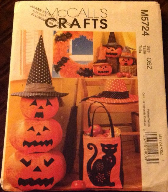 Mccalls Crafts M5724 Sewing Pattern Halloween Decorations Bat Hat