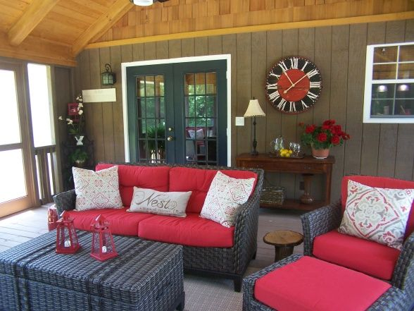 Screened In Porch Furniture Arrangement Outdoors Pinterest