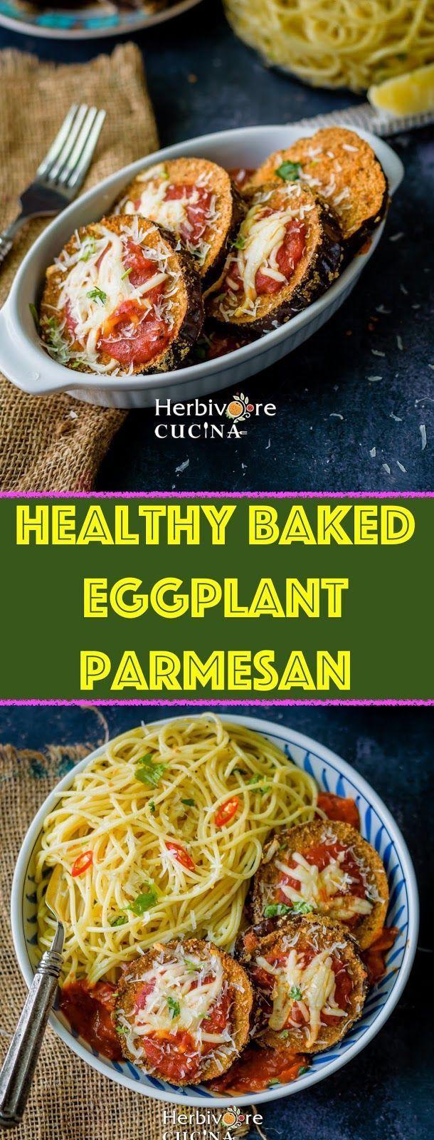 Healthy BAKED Eggplant Parmesan images