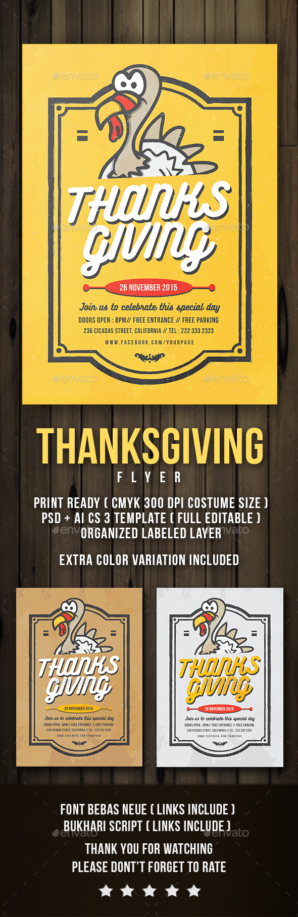 Flyer Thanksgiving Thanksgiving Flyer Template And Font Logo