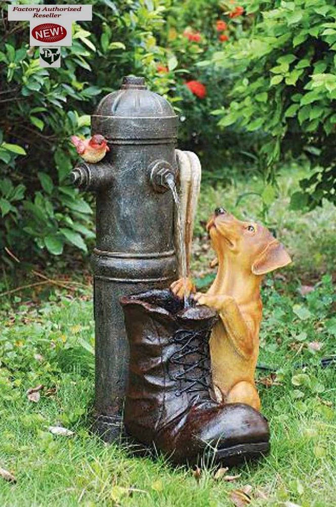 Exclusive Handmade 1802 Fire Hydrant With Dog Garden Statue Fountain LED  Lights #Toscano
