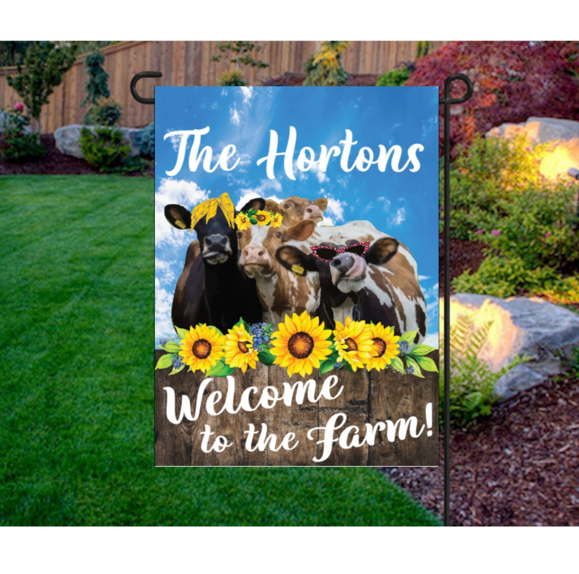 Welcome Flags Welcome To The Farm Garden Flag Girly Cow Flag Sunflower Flags Welcome Yard Flag Personalized Fall Garden Flag Personalized Flag Easy Garden