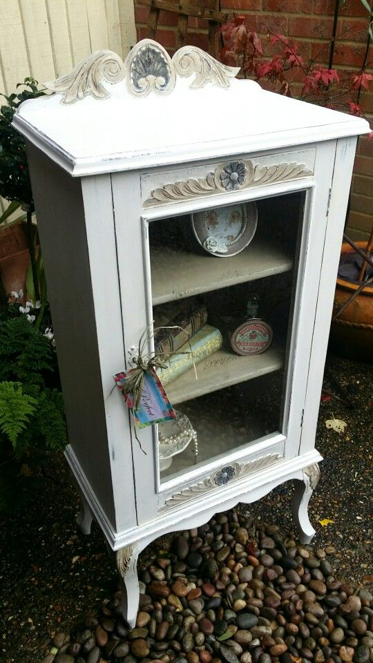 Shabby chic french display cabinet in Annie Sloan old white and Country grey xx