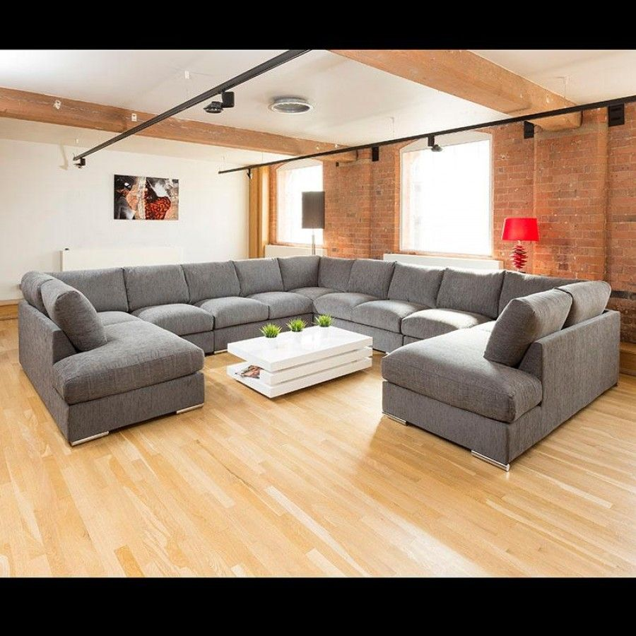 Extra Large Unique Sofa Set Settee Corner Group C Shape Grey