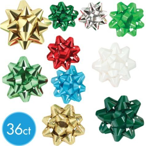 traditional and holographic bows 36ct party city