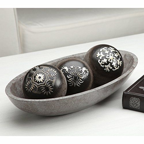 Black Decorative Bowl Elegant Expressions Black And Silver Decorative Orb Set Wbowl In