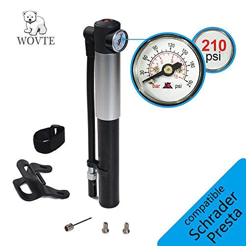 WOVTE Mini Bike Pump with Pressure Gauge, 210 PSI Premium CNC Aluminum Mini Portable Air Bike Pump with Hose & Frame Mount Kit Fits Presta & Schrader for All On & Off Road Tires -- You can get more details by clicking on the image.